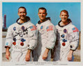 Autographs:Celebrities, Apollo 9 Color White Spacesuit Crew Photo Signed by Two, Directly from the Personal Collection of Mission Lunar Module Pilot R...