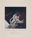 Autographs:Celebrities, Rusty Schweickart Color Apollo 9 EVA Photo on Mat Directly from hisPersonal Collection, Signed and Certified. ...