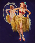 """Pin-up and Glamour Art, GIL ELVGREN (American, 1914-1980). """"I Hope the Boys Don't Drawthe Straws Tonight"""", Brown and Bigelow calendar illustratio..."""