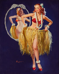 "GIL ELVGREN (American, 1914-1980) ""I Hope the Boys Don't Draw the Straws Tonight"", Brown and Bigelow Calendar..."