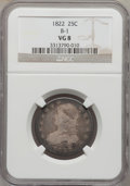 Bust Quarters: , 1822 25C VG8 NGC. B-1. NGC Census: (1/84). PCGS Population (9/117).Mintage: 64,080. Numismedia Wsl. Price for problem fre...