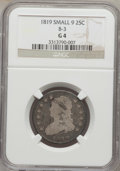 Bust Quarters: , 1819 25C Small 9 Good 4 NGC. B-3. NGC Census: (7/142). PCGS Population (2/127). Mintage: 144,000. Numismedia Wsl. Price fo...