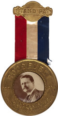 """Political:Pinback Buttons (1896-present), Theodore Roosevelt: Unbelievable """"Stand Pat"""" Badge...."""