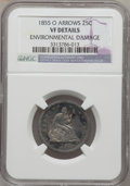 Seated Quarters: , 1855-O 25C Arrows -- Environmental Damage -- NGC Details. VF. NGCCensus: (2/24). PCGS Population (3/19). Mintage: 176,000....