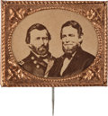 Political:Ferrotypes / Photo Badges (pre-1896), Grant & Colfax: Super-Sized Cardboard Jugate....