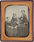 Photography:Daguerreotypes, Beautiful Oversize Full Plate Portrait of Four Women by Iconic American Daguerreotypists Albert Southworth and Josiah Hawes....