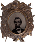 Political:Ferrotypes / Photo Badges (pre-1896), Abraham Lincoln: Ornate Ferrotype Badge....