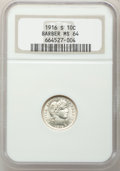 Barber Dimes: , 1916-S 10C MS64 NGC. NGC Census: (64/59). PCGS Population (80/34).Mintage: 5,820,000. Numismedia Wsl. Price for problem fr...