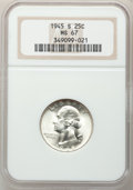 Washington Quarters: , 1945-S 25C MS67 NGC. NGC Census: (155/0). PCGS Population (34/0).Mintage: 17,004,000. Numismedia Wsl. Price for problem fr...