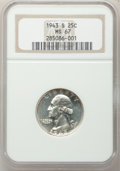 Washington Quarters: , 1943-S 25C MS67 NGC. NGC Census: (143/0). PCGS Population (36/1).Mintage: 21,700,000. Numismedia Wsl. Price for problem fr...