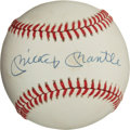 Baseball Collectibles:Balls, Mickey Mantle Single Signed Baseball....