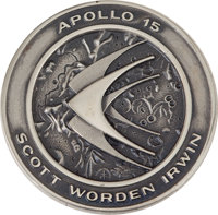 Apollo 15 Flown Silver Robbins Medallion Directly from the Personal Collection of Astronaut Rusty Schweickart, Serial Nu...