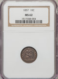 Seated Dimes: , 1857 10C MS62 NGC. NGC Census: (25/185). PCGS Population (24/125).Mintage: 5,580,000. Numismedia Wsl. Price for problem fr...