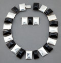 Jewelry, A FRED DAVIS SILVER AND ONYX NECKLACE . Fred Davis, Mexico City, Mexico, circa 1930 . Marks: FD, SILVER, MEXICO . 13-1/2...