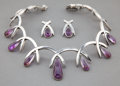 Jewelry, AN ANTONIO PINEDA SILVER AND AMETHYST TEAR-DROP NECKLACE AND EARRINGS . Antonio Pineda, Taxco, Mexico, circa 1950 . Marks: (... (Total: 3 Items)