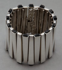 AN ANTONIO PINEDA SILVER AND OBSIDIAN BRACELET Antonio Pineda, Taxco, Mexico, circa 1950 Marks: (crown-Antoni