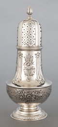 Silver Holloware, British:Holloware, A WILLIAM HULTON ENGLISH SILVER SUGAR SHAKER . William Hulton,London, England, circa 1910-1911. Marks: (lion passant) WH...