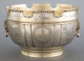 Silver Holloware, British:Holloware, A D & J WELBY ENGLISH SILVER AND SILVER GILT MONTIETH BOWL .D&J Welby Ltd., London, England, circa 1924-1925. Marks: (lion...