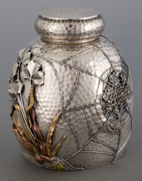 A GORHAM SILVER AND MIXED METAL TEA CADDY Gorham Manufacturing Co., Providence, Rhode Island, 1880 Marks: (lio