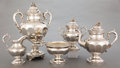 Silver Holloware, American:Tea Sets, A FIVE PIECE BALL, BLACK & CO. COIN SILVER TEA SERVICE . Ball, Black & Company, New York, New York, circa 1870. Marks: BAL... (Total: 5 Items)