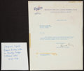 Baseball Collectibles:Others, 1948 Branch Rickey Signed Typed Brooklyn Dodgers Letter. ...