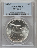 Modern Issues, 1983-P $1 Olympic Silver Dollar MS70 PCGS....
