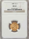 Liberty Quarter Eagles: , 1888 $2 1/2 MS63 NGC. NGC Census: (69/96). PCGS Population (64/60).Mintage: 16,098. Numismedia Wsl. Price for problem free...