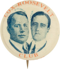 """Cox & Roosevelt: The Key Red, White, and Blue """"Cox Roosevelt Club"""" Jugate, the Hake Book Plate Specimen..."""