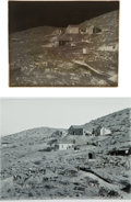 Western Expansion:Goldrush, [California Gold Mining] Excavation for Pridham and Quinn Mill(Randsburg's First Stamp Mill) 1898 - Glass Plate Negative....