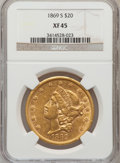 Liberty Double Eagles: , 1869-S $20 XF45 NGC. NGC Census: (226/914). PCGS Population(149/352). Mintage: 686,750. Numismedia Wsl. Price for problem ...