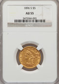 Liberty Half Eagles: , 1896-S $5 AU55 NGC. NGC Census: (64/173). PCGS Population (31/66).Mintage: 155,400. Numismedia Wsl. Price for problem free...