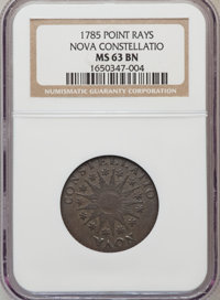 1785 COPPER Nova Constellatio Copper, Pointed Rays, Large Date MS63 Brown NGC. NGC Census: (1/3). PCGS Population (5/3)...