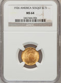 Commemorative Gold: , 1926 $2 1/2 Sesquicentennial MS64 NGC. NGC Census: (2679/1175).PCGS Population (4228/1966). Mintage: 46,019. Numismedia Ws...
