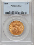 Liberty Eagles: , 1886 $10 MS63 PCGS. PCGS Population (29/6). NGC Census: (31/4).Mintage: 236,160. Numismedia Wsl. Price for problem free NG...