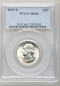 Washington Quarters: , 1937-S 25C MS66 NGC. NGC Census: (130/24). PCGS Population(149/21). Mintage: 1,652,000. Numismedia Wsl. Price for problem ...