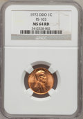 Lincoln Cents: , 1972 1C Doubled Die Obverse MS64 Red NGC. FS-103. NGC Census:(477/707). PCGS Population (836/1716). Mintage: 75,000. Numi...