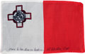 Transportation:Space Exploration, Apollo 15 Flown National Flag of Malta Directly from the PersonalCollection of Mission Command Module Pilot Al Worden, Signed...