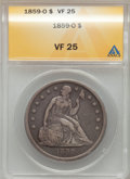 Seated Dollars: , 1859-O $1 VF25 ANACS. NGC Census: (5/459). PCGS Population (6/721).Mintage: 360,000. Numismedia Wsl. Price for problem fre...