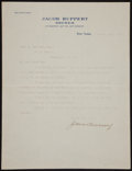 Baseball Collectibles:Others, 1912 Jacob Ruppert Typed Signed Letter....