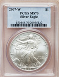 Modern Bullion Coins, 2007-W $1 Silver Eagle MS70 PCGS. PCGS Population (2228). NGCCensus: (0). Numismedia Wsl. Price for problem free NGC/PCGS...