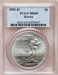 Modern Issues: , 1991-D $1 Korean War Silver Dollar MS69 PCGS. PCGS Population(2017/136). NGC Census: (1631/220). Mintage: 213,049. Numisme...