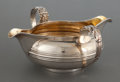 Silver Holloware, British:Holloware, A JAMES WINTLE GEORGE IV SILVER AND SILVER GILT TWO-SPOUTED SAUCEBOAT . James Wintle, London, England, circa 1828-1829. Mar...