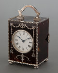 Silver Holloware, British:Holloware, A CASED EDWARDIAN TORTOISESHELL AND SILVER CLOCK . Charles andRichard Comyns, London, England, circa 1917 . Marks: (lion pa...