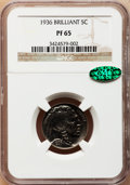 Proof Buffalo Nickels, 1936 5C Type Two -- Brilliant Finish PR65 NGC. CAC....