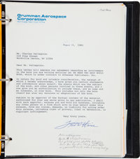 Apollo 13: Copy of Grumman Lunar Module Mission Log with Signed Book Release Forms from Fred Haise, Tom Kelly, and Numer...