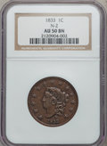 Large Cents: , 1833 1C AU50 NGC. N-2. NGC Census: (8/229). PCGS Population(13/111). Mintage: 2,739,000. Numismedia Wsl. Price for proble...