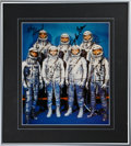 Autographs:Celebrities, Mercury Seven: Large Color Spacesuit Photo Signed by Six....