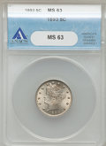 Liberty Nickels: , 1893 5C MS63 ANACS. NGC Census: (80/255). PCGS Population (131/282). Mintage: 13,370,195. Numismedia Wsl. Price for problem...