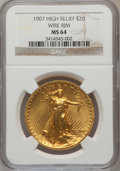 High Relief Double Eagles: , 1907 $20 High Relief, Wire Rim MS64 NGC. NGC Census: (502/192). PCGS Population (1036/376). Mintage: 11,250. Numismedia Wsl...