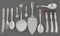 Silver Flatware, Continental:Flatware, TWELVE GEORG JENSEN SILVER SERVING PIECES . Georg Jensen, Inc.,Copenhagen, Denmark, circa 1920 . Marks: G, DENMARK, STE...(Total: 11 Items)